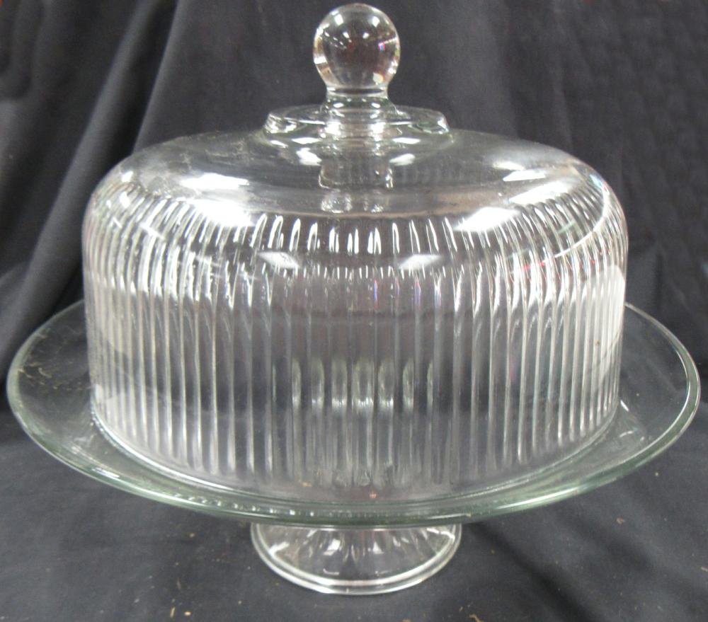 """Vintage Round Clear/Cut Glass Cake / Pastry Dish with Cover, 12"""" x 12""""H, EC"""