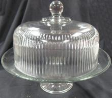 """Lot 178: Vintage Round Clear/Cut Glass Cake / Pastry Dish with Cover, 12"""" x 12""""H, EC"""