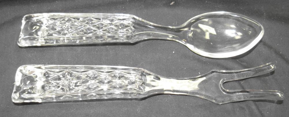 """Vintage Glass Salad Serving Fork and Spoon, 9 3/4"""" Long, EC"""