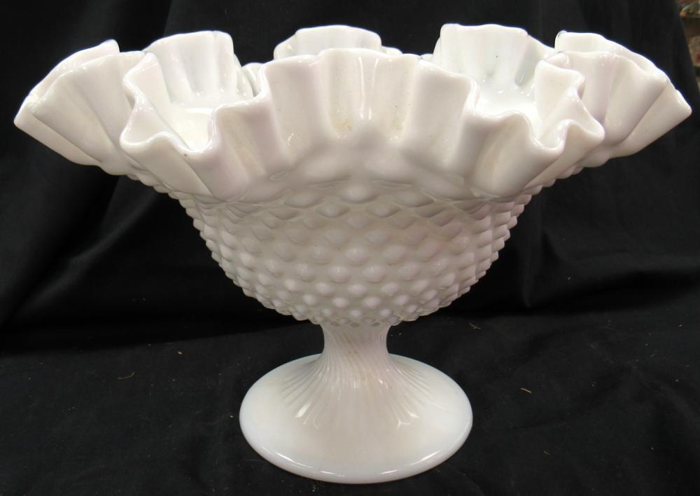 "Vintage Fenton Hobnil Large Crimped Milk Glass Footed Compote Fuit Bowl, 9 1/2"" Dia x 7"", EC"
