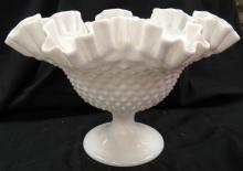 "Lot 186: Vintage Fenton Hobnil Large Crimped Milk Glass Footed Compote Fuit Bowl, 9 1/2"" Dia x 7"", EC"