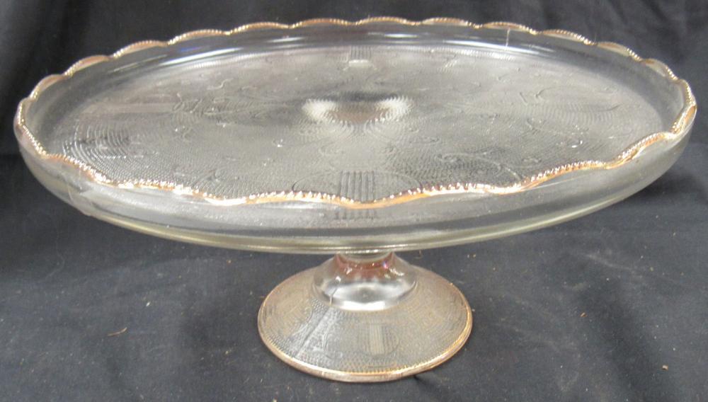 "Lot 188: Vintage Pedestal Cake Plate Glass Jeannette Glass Harp Design Ruffled Gold Trim, 10"" x 4 1/2""H, EC"