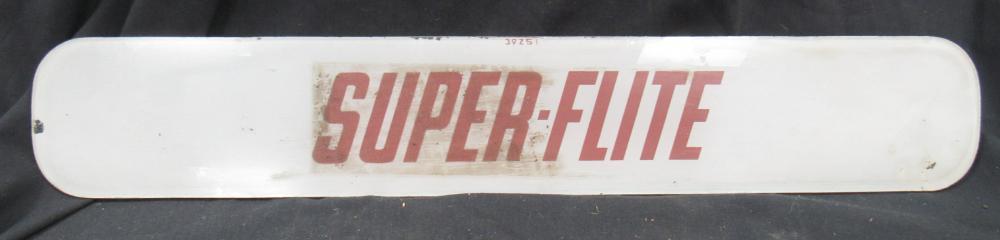 "Vintage Gas Pump Glass Sign-Super Flite Fuel, 21"" x 3 1/2"", EC"