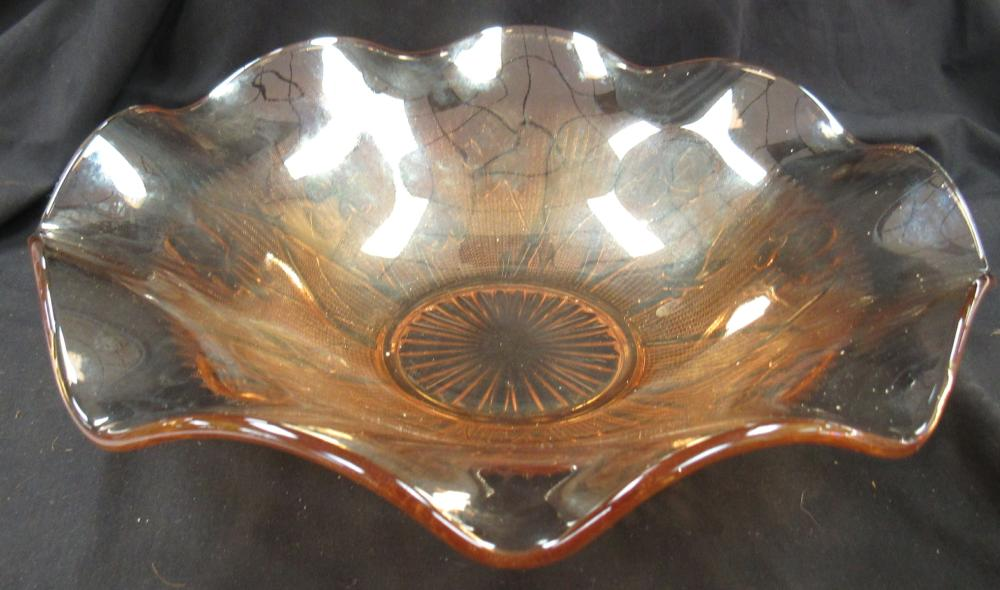 "Lot 193: Vintage Jeanette Marigold Iris & Herringbone Large Ruffled Edge Serving Bowl, 12"" Dia x 3""H, EC"