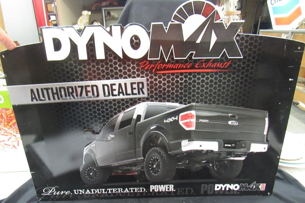 "Lot 196: Dyno Max Dealer Metal Sign, 24"" x 18 1/4"", EC"