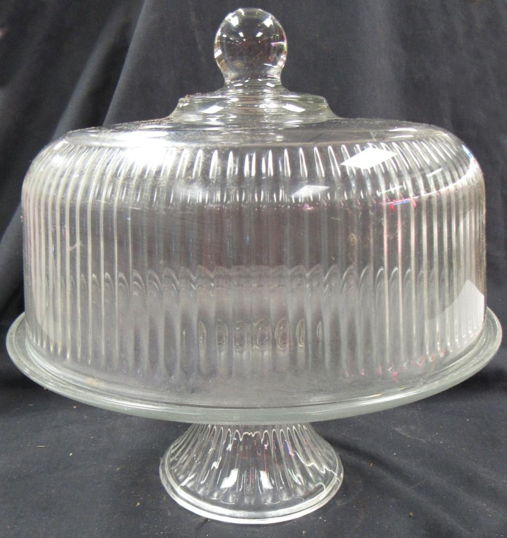 "Lot 198: Vintage Round Ribbed Glass Cake / Pastry Dish with Cover, 10 1/2"" x 12""H, EC"