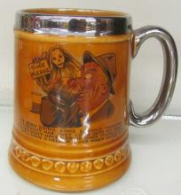 Lord Nelson Pottery Mug – 5 in. Tall - Silver Plated Handle & Rim, EC