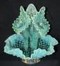 """Vintage Fenton Blue Opalescent Hobnail art Glass Epergne Vase, 9 1/2""""H, EC"""