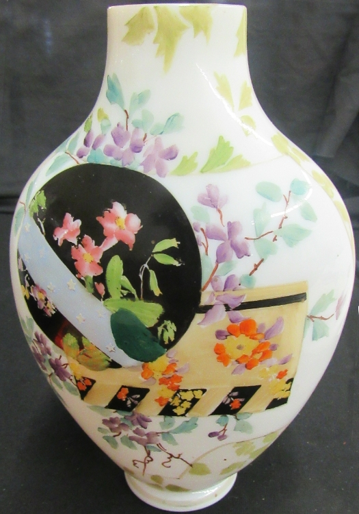 Antique Victorian Floral Hand Painted White Milk Glass Vase, 9 1/2