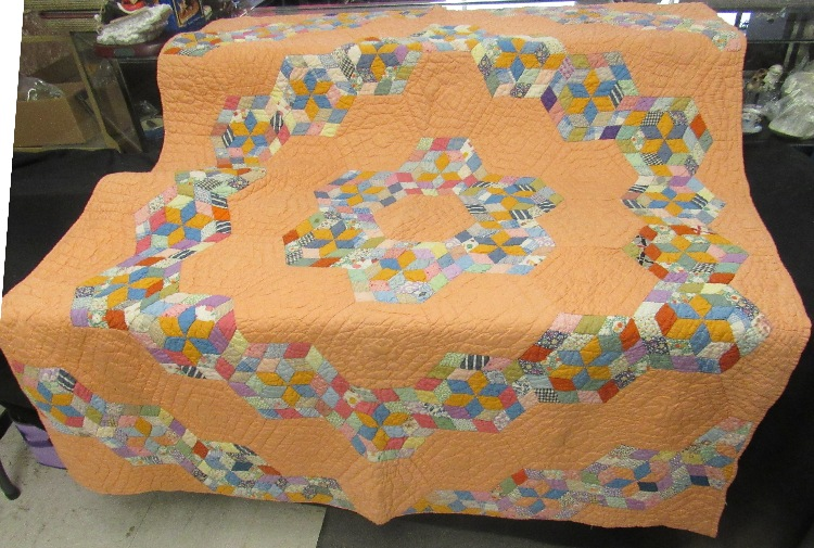 1940's Hand Sewn Star Pattern Quilt, Never been seen till now, 61