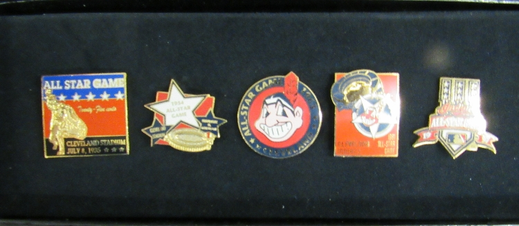 Five Cleveland Indians MLB Baseball All Star Game Pins, MIB