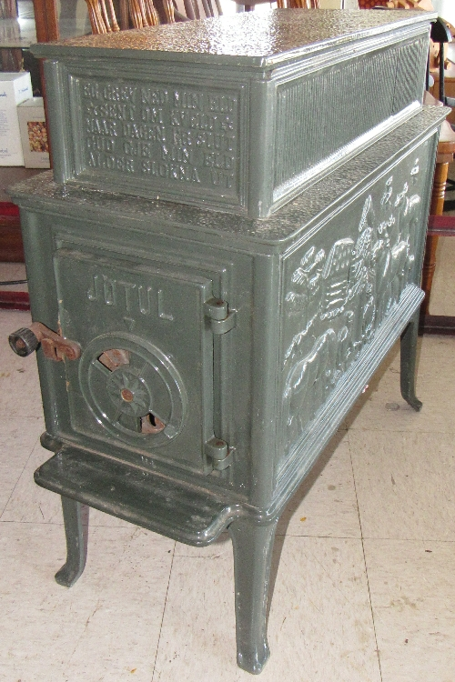 Jotul Wood Stove Made in Norway Cast Iron logging scene moose, 30