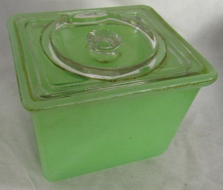 Vintage  Jadeite Square Refrigerator Butter Dish & Lid, 4 1/2
