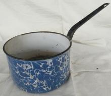 Antique Aqua Blue Swirl Enamelware Pan, 11 1/2