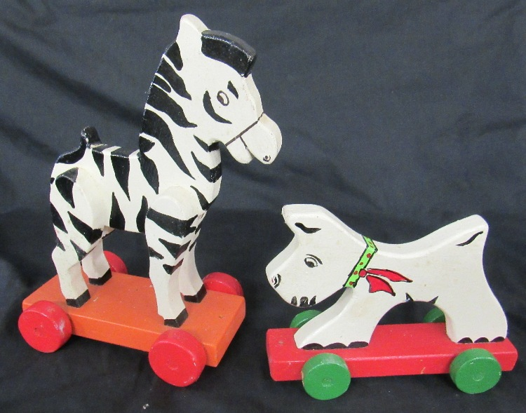 Two Wooden Pull Toys, EC