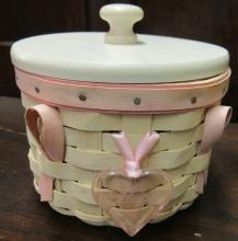 Longaberger 2006 Horizon of Hope American Cancer Society Basket Whitewash Pink, Protecotr, Liner and tie On, EC