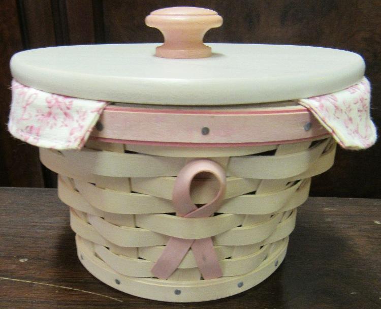 Longaberger 2007 Horizon of Hope American Cancer Society Basket Whitewash Pink Combo, EC