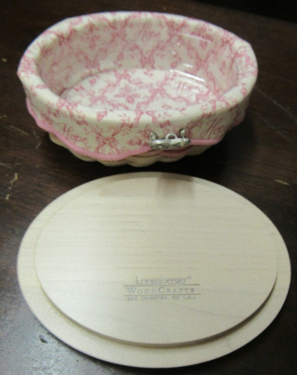 2003 Longaberger American Cancer Society Hope Basket with Lid, Liner, Protector and Pin, EC