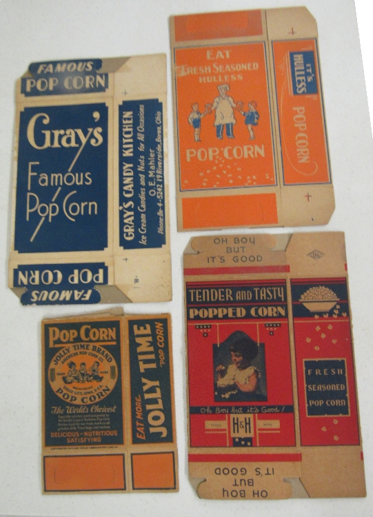 Four Early 1900's Popcorn Boxes, EC