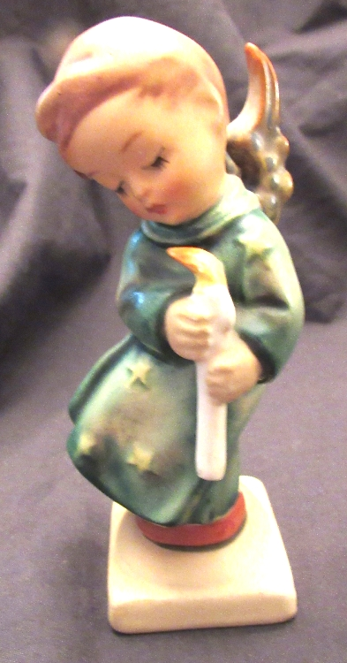 Goebel Hummel Heavenly Angel  #21/0 Full Bee Mark .Boy Wings with Candle, EC