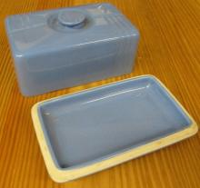 Vintage Blue Art Deco Westinghouse Hall China Refrigerator Butter Dish, 7