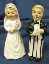 Vintage Bride Groom Wedding Salt and Pepper Shakers, Young and Old, 3 1/2