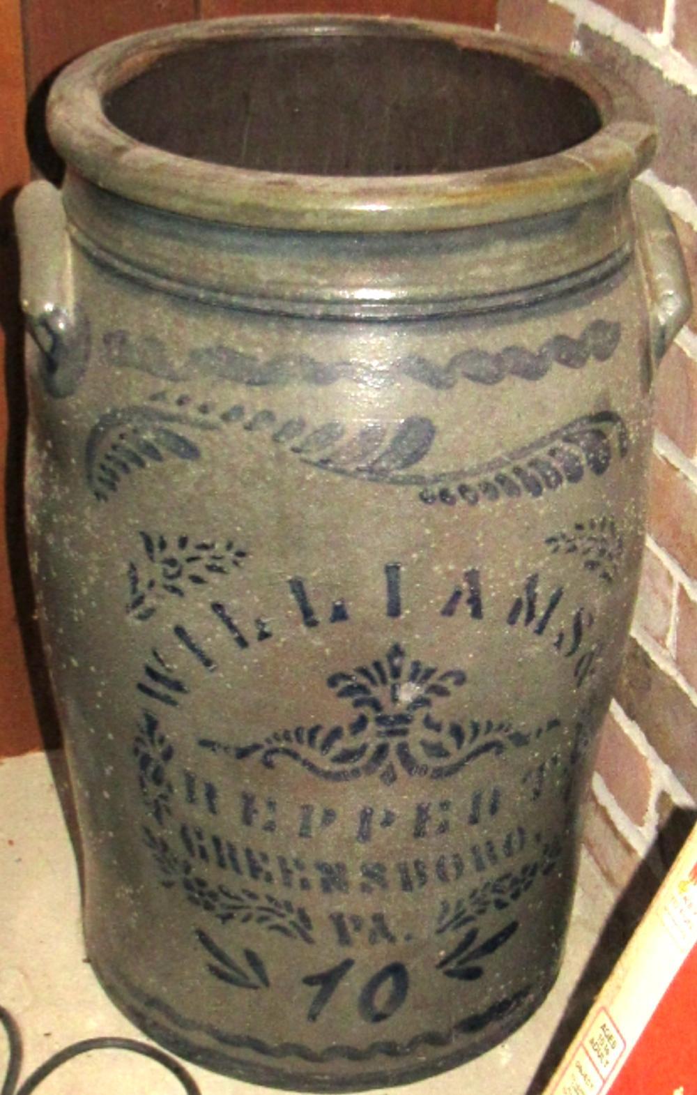 RARE Antique Cobalt Blue Williams & Reppert Greensboro, PA Stoneware 10 gallon Crock, EC