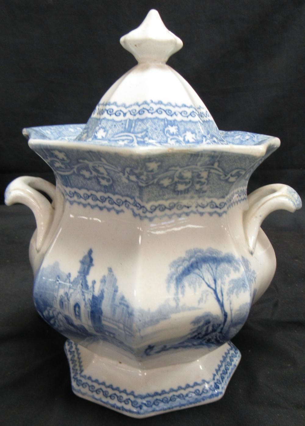1800's Antique Blue English Ironstone Transferware Sugar Bowl With Lid