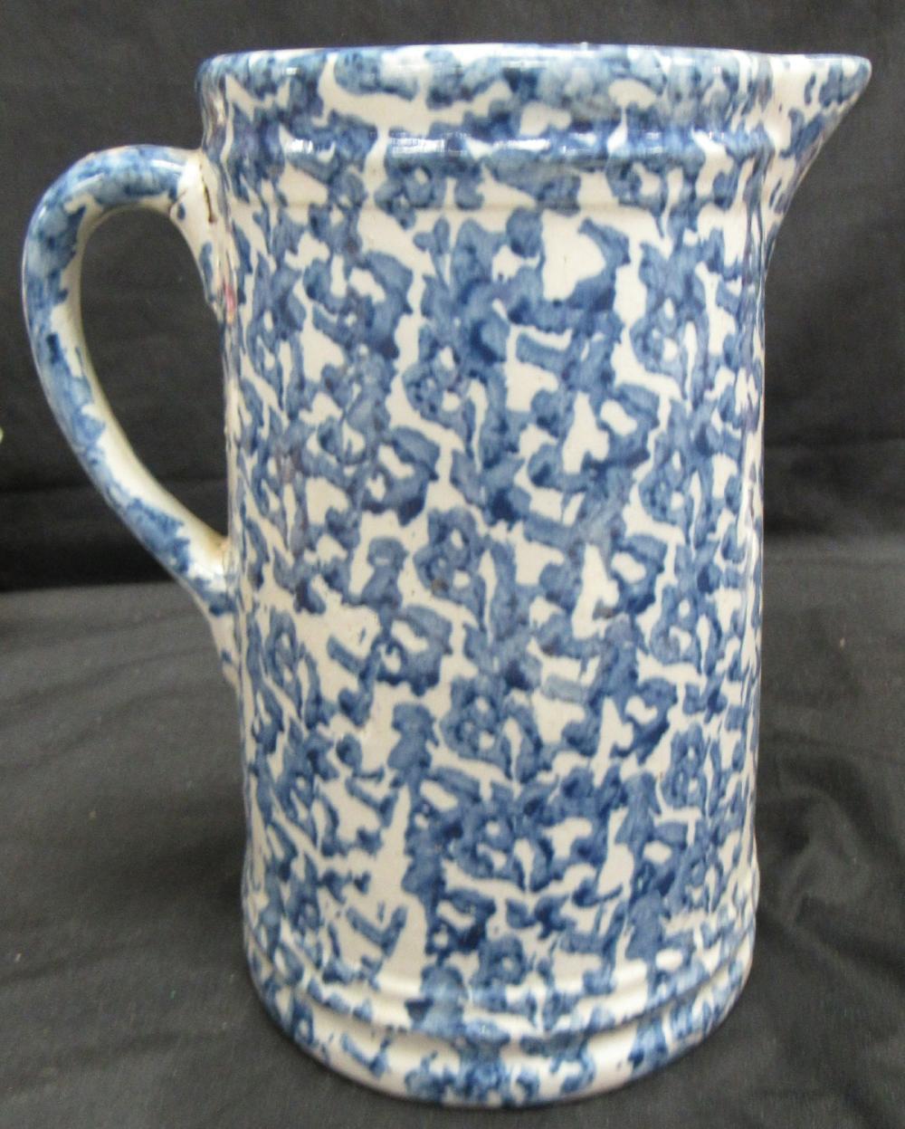 """Antique 9"""" Blue & White Spongeware / Splatterware / Stoneware Pitcher"""