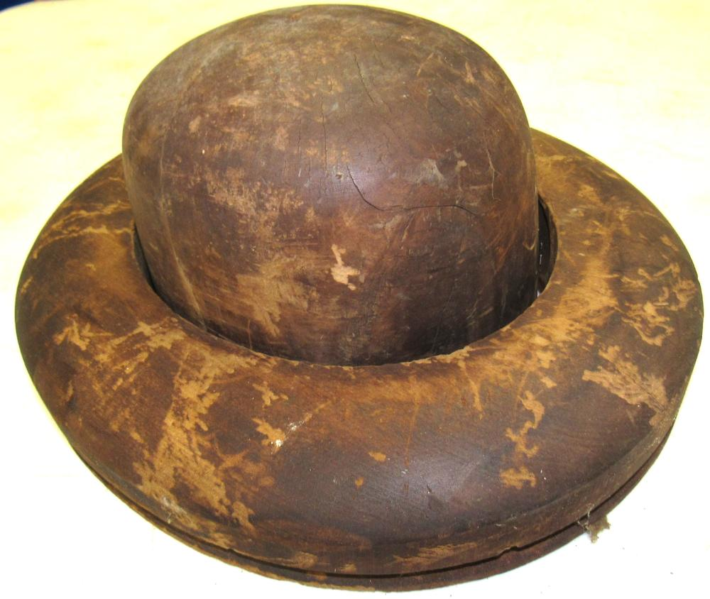 """Antique Wooden Hat Mold, Size 7 1/2"""", EC with Brim ( Two Piece)"""