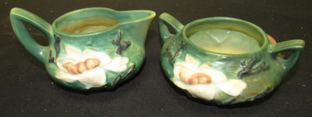 1940's Roseville Pottery Magnolia Creamer 4C and Open Sugar 4S, EC