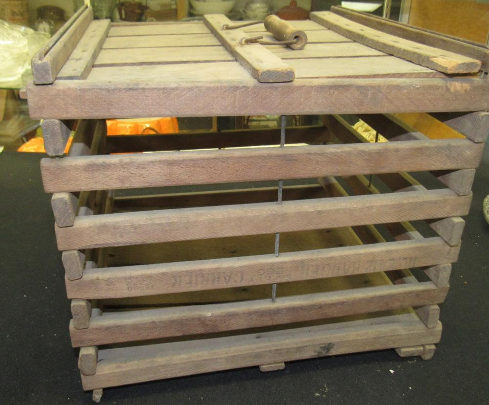 """Primitive Wooden Slatted Egg Crate Box Carrier with Lid, 13"""" Sq. x 11 1/2""""H, EC"""