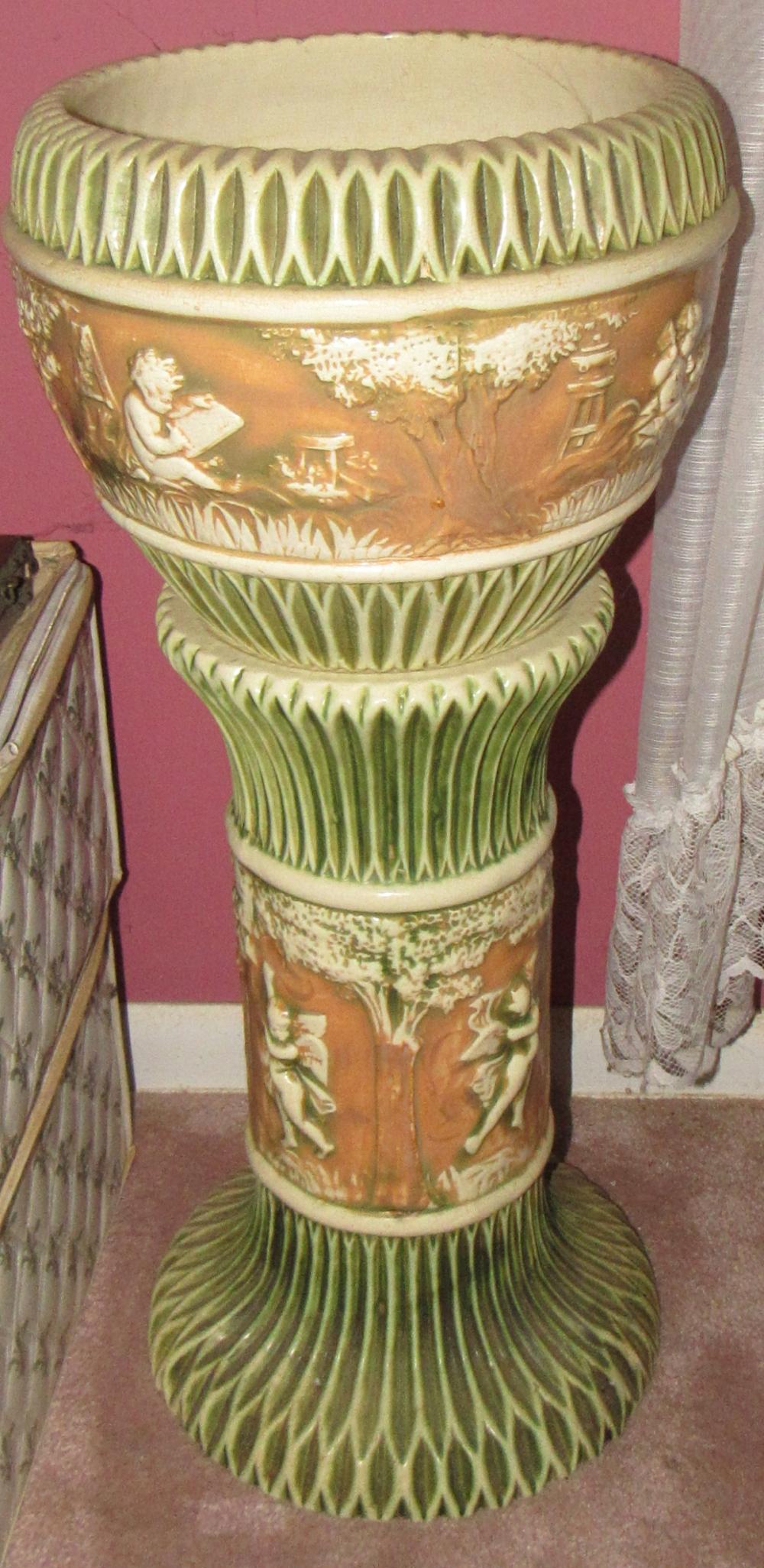 Roseville Pottery Donatello Jardinière and Pedestal
