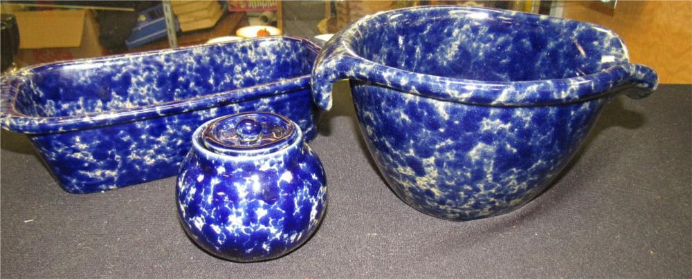 Three Pieces of Bennington Potters Vermont Blue Agate Pieces, EC