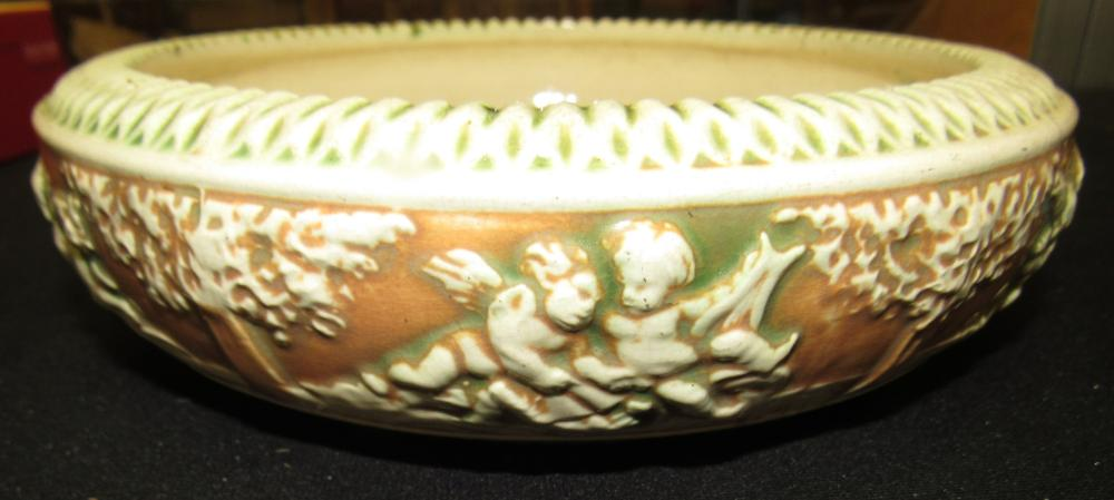 "Roseville Pottery Donatello 1916 Center Bowl 53-7, As-Is, 9"" Dia x 2 1/2""H"