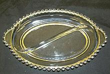 2-Part Oval Relish Dish in the Candlewick-Clear (stem #3400) pattern by Imperial Glass, 11