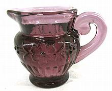 1982 Imperial Hand Crafted Floral Purple Glass Miniature Souvenir Pitcher, 2