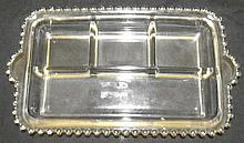 4-Part Rectangular Relish Dish in the Candlewick-Clear (stem #3400) pattern by Imperial Glass, 11 x 7 x2