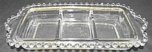 3-Part Rectangular Relish Dish in the Candlewick-Clear (stem #3400) pattern by Imperial Glass,9 x 5 x 1/2H