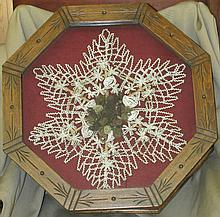 Antique Victorian Late 18th Century Mourning Hair Art with Beading Art, Octagon Framed, 20