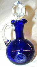 Vintage Colbalt Blue Cased Glass Etched Cruet w/Stopper 7