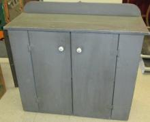 Primitive Gray Crock Cabinet, 40 x 16 x 36, EC, All Responsibility for Shipping will be the Successful Bidder. You must arrange for pickup directly or by a shipper within 30 days after sale.
