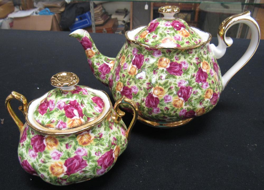 Royal Albert Old Country Roses Chintz Tea Pot and Covered Sugar, EC