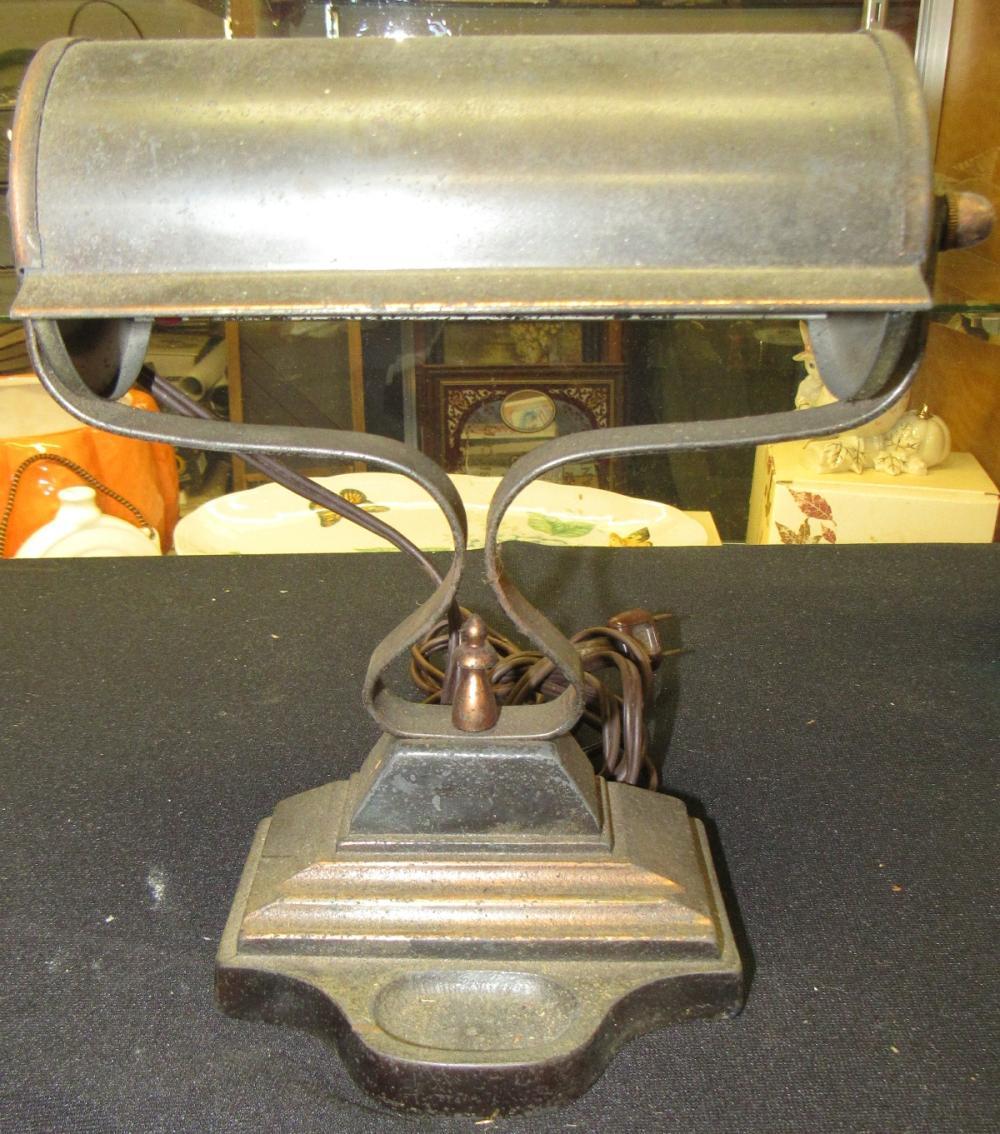 "Antique Bronze/Brass Banker's Lamp with Trinket Holder Base, 9""H x 8 1/2""W, EC"