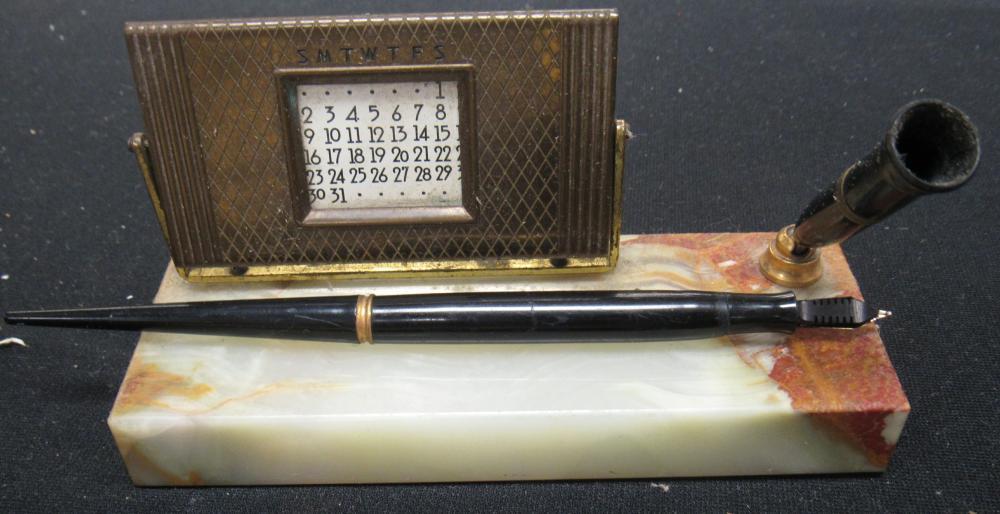 "Vintage Diamond Point Fountain Pen Desk Set w/ Marble Base and 50 Year Calendar, EC, 6 1/2"" x 2 1/4"""