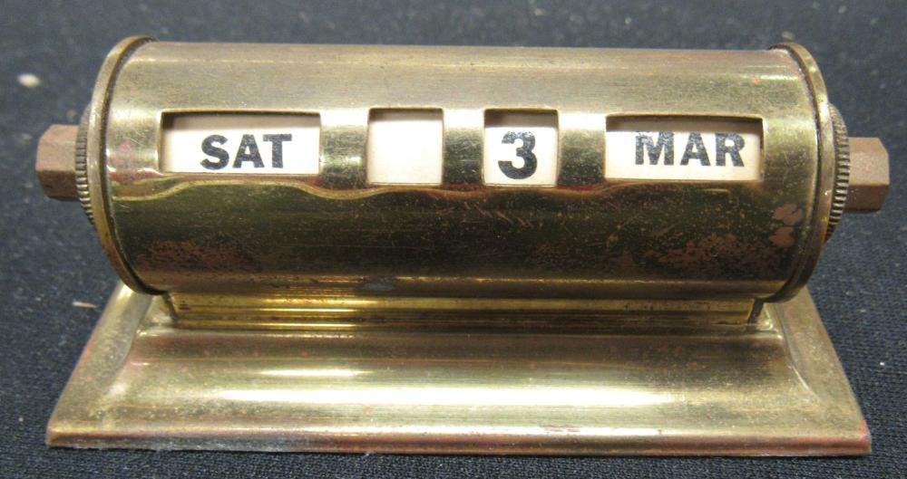 RARE Vintage 1950's Brass Perpetual Rolling Desk Calendar, EC