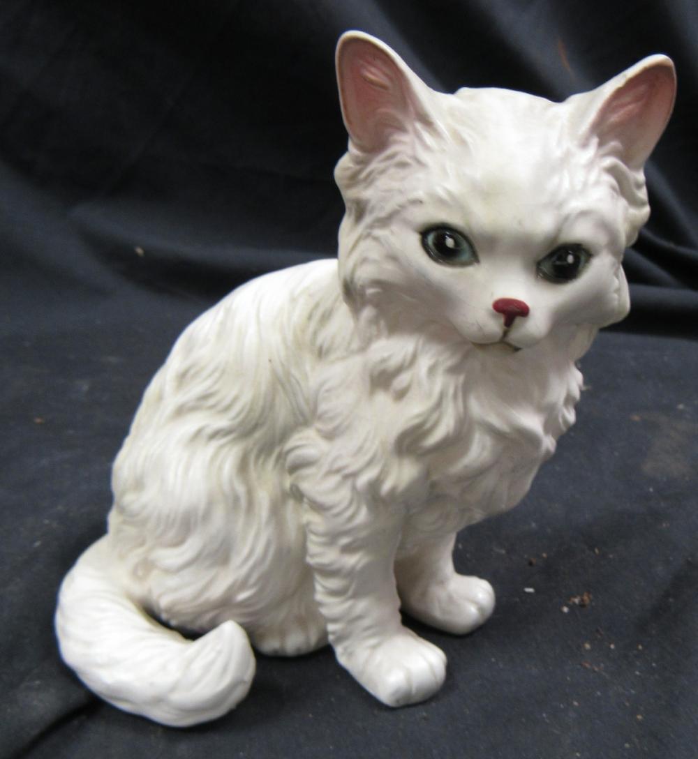 "Vintage Lefton Ceramic White Persian Cat Figurine H1514 Blue Eyes Japan, 5 1/2""H, EC"