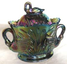 Westmoreland Iridescent Electric Purple Carnival Glass Swan Cattail  Sugar Bowl, 5