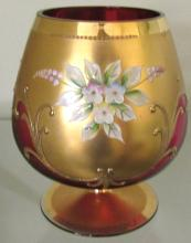 Bohemian Glass Czech Brandy Sniffer Hand Painted 18K Gold Cranberry Glass Art, 5