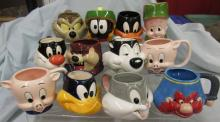 Twelve Looney Tunes Figural Mugs/Cups, EC